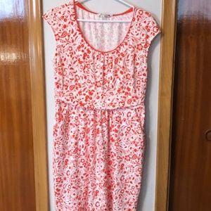 Boden coral/white cap sleeve cotton dress (12)